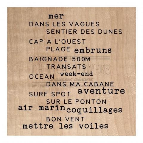 """Tampon bois """"Texte mer"""""""