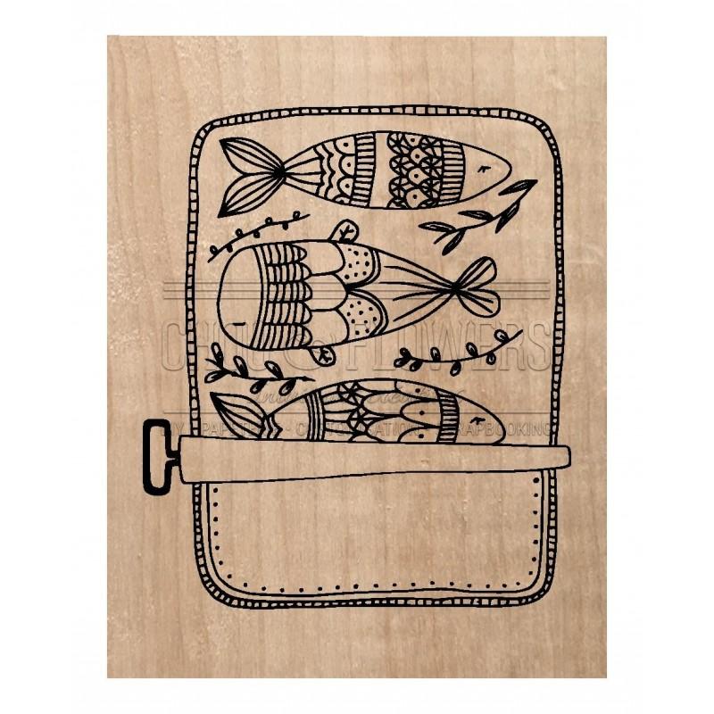 "Tampon bois ""Les sardines"""