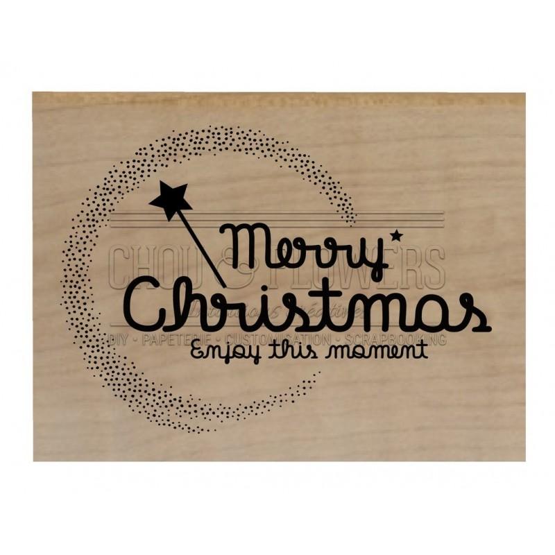 """Tampon bois """"Merry christmas"""""""