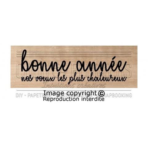 """Tampon bois """"BONNE ANNEE,NOS VOEUX..."""""""