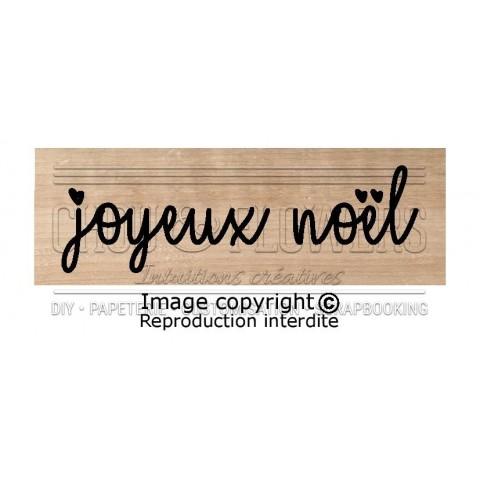 """Tampon bois """"Joyeux Noël, coeur"""""""