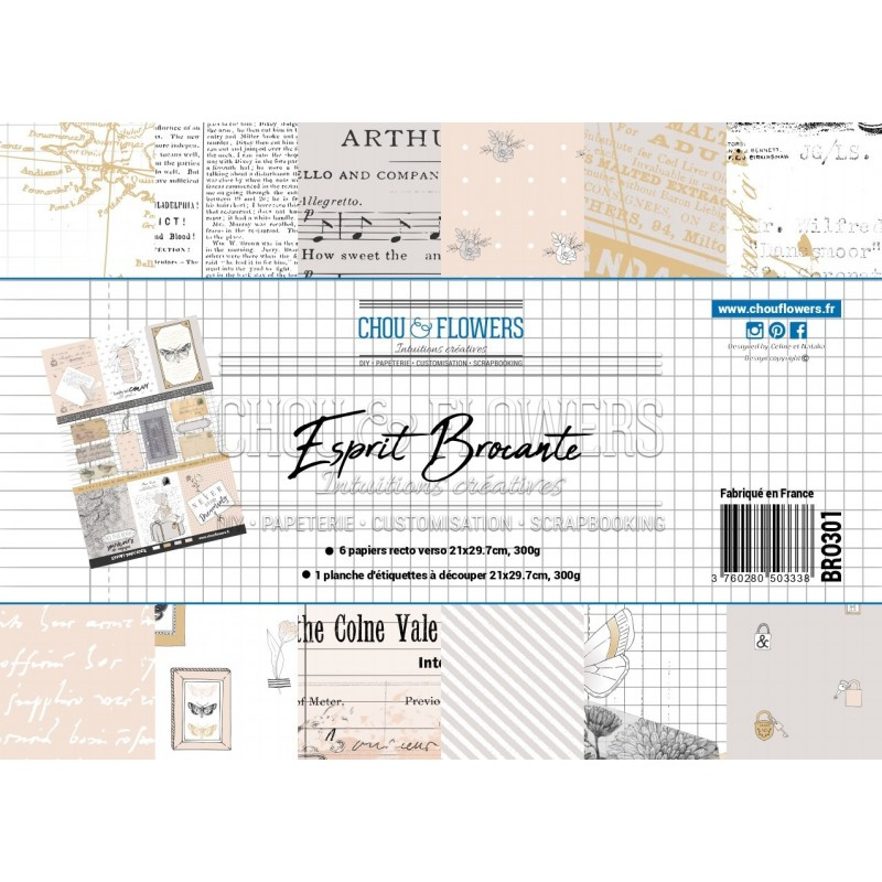 PAPIERS FORMAT A4 300G COLLECTION ESPRIT BROCANTE