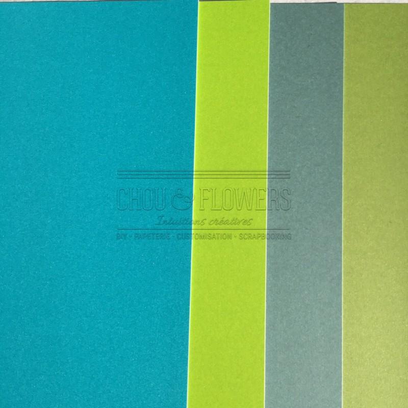 Pack de 4 papiers Flashys (bleu-vert)