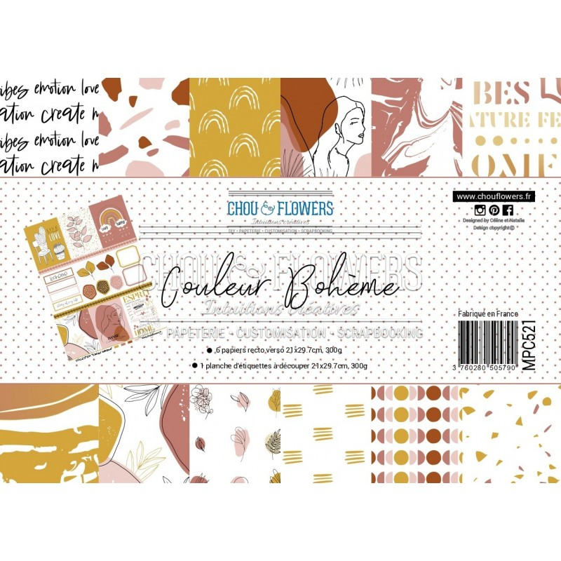 PAPIERS FORMAT A4 300G COLLECTION COULEUR BOHEME
