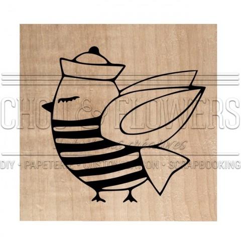 "Tampon bois ""Mr oiseau le marin"""