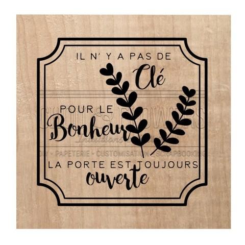 """Tampon bois """"Clé pour le bonheur"""""""