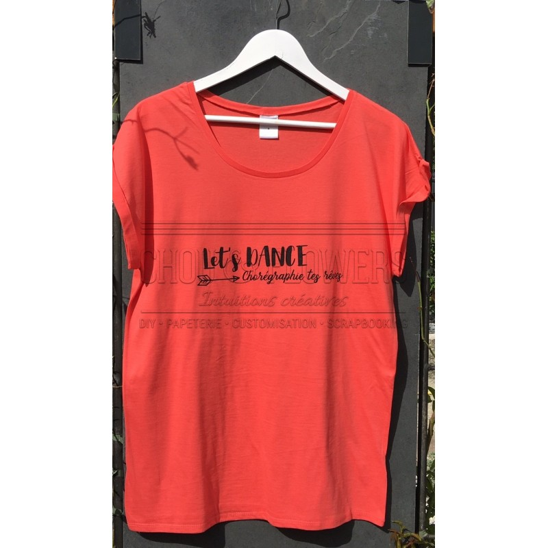 "TEE SHIRT ""LET'S DANCE"" CORAIL"