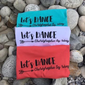 "TEE SHIRT ""LET'S DANCE"" CORAIL"