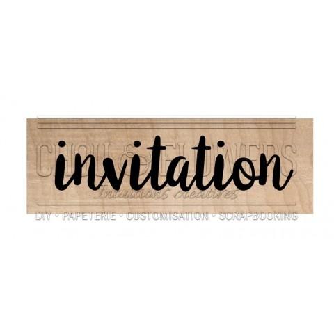 "Tampon bois ""Invitation"""
