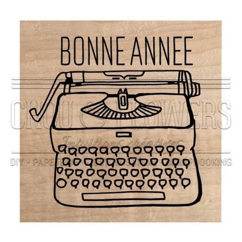 """Tampon bois """"machine bonne année"""""""