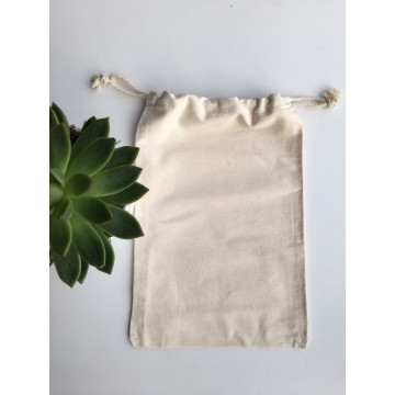 Sac en coton beige 20 x 30 cm