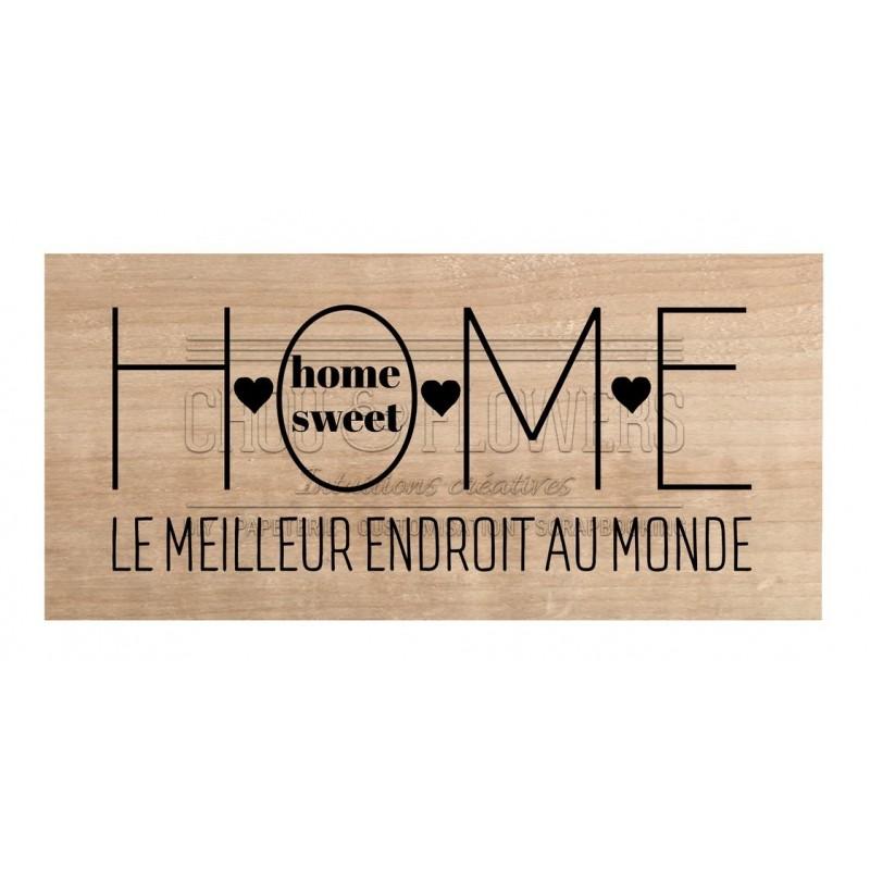 "Tampon bois ""HOME SWEET HOME"""