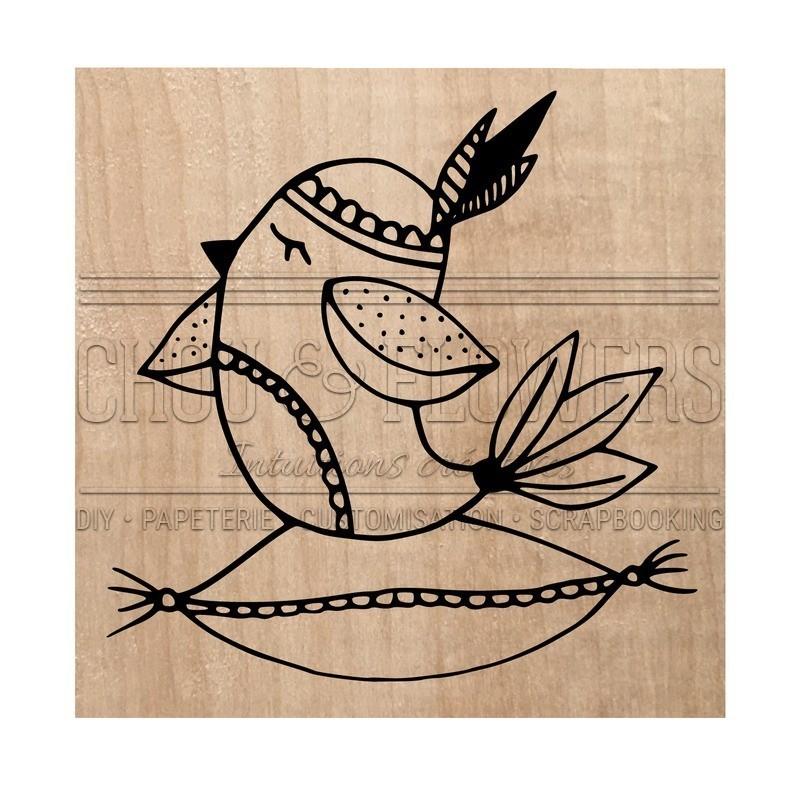 "Tampon bois ""Hygge bird"""
