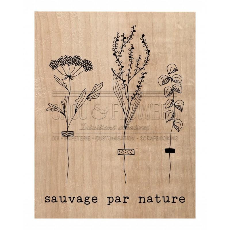 """Tampon bois """"sauvage par nature"""""""
