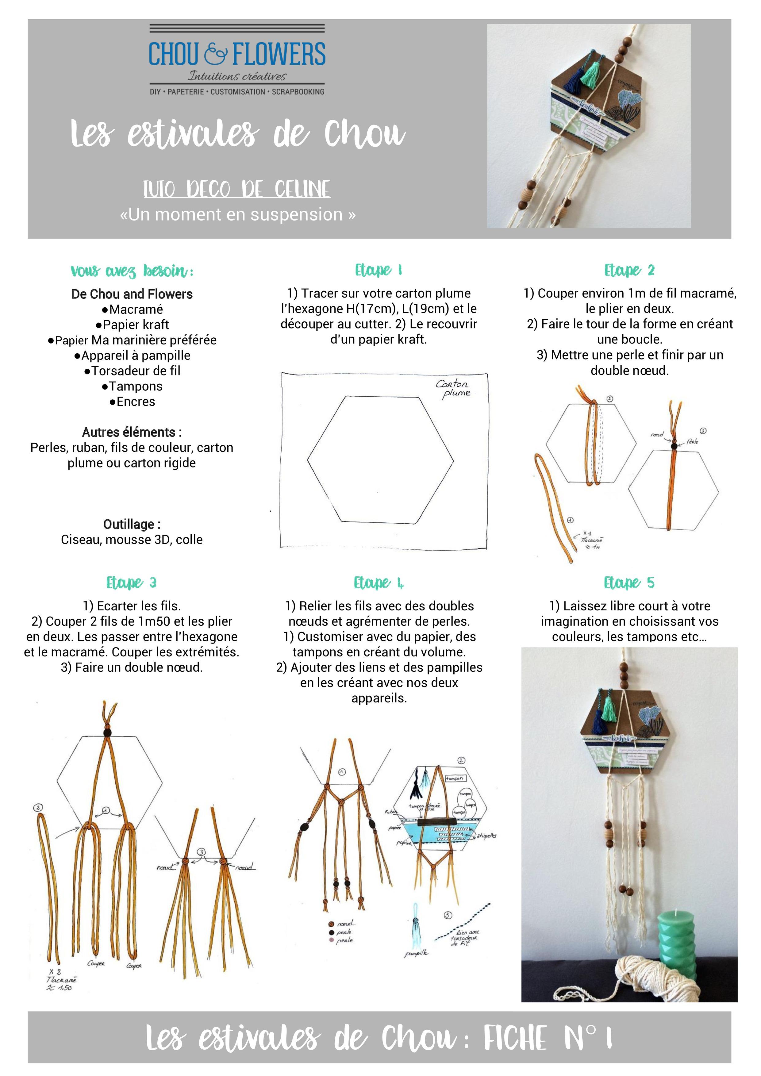 tutu suspension en macram chou flowers. Black Bedroom Furniture Sets. Home Design Ideas